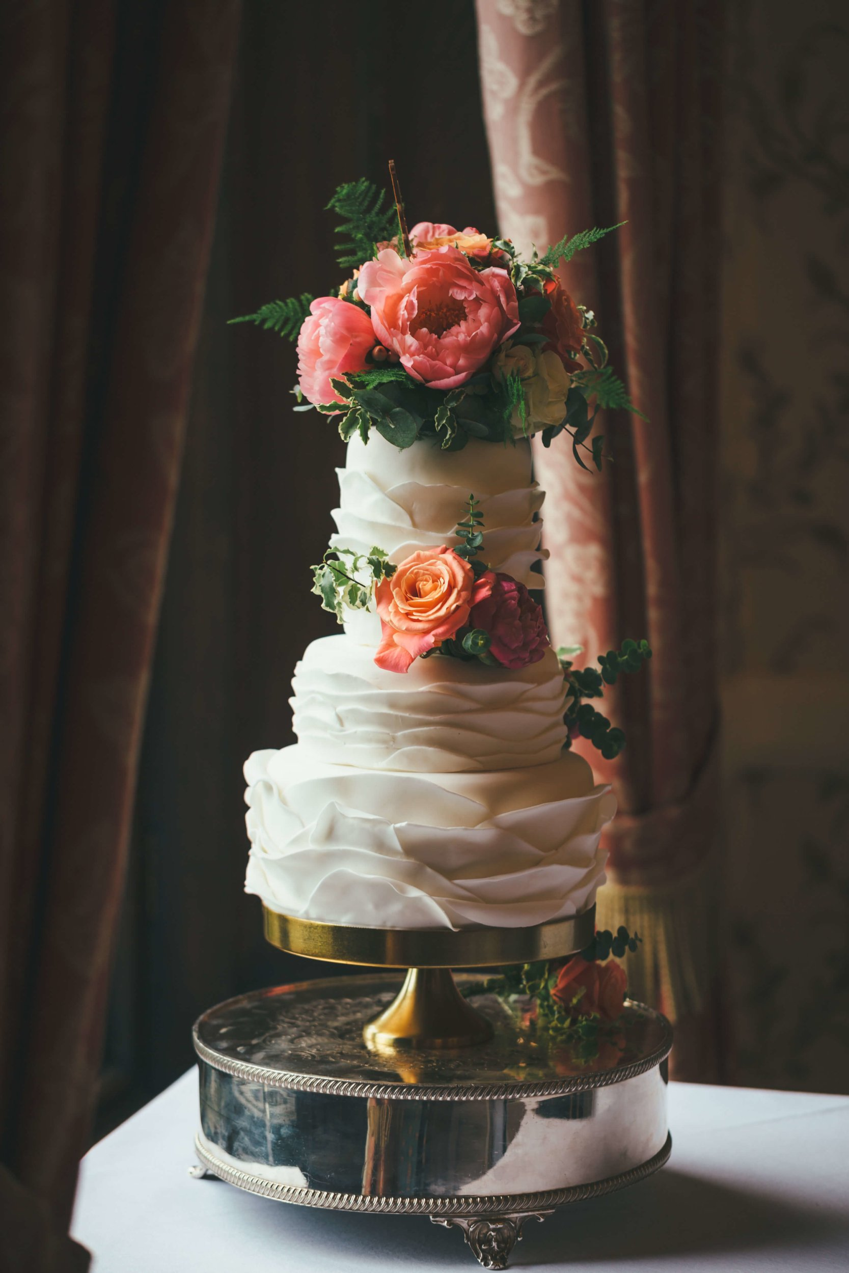 The Wedding Cake | Ruffles and Bright Peonies